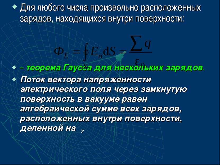 Для любого числа произвольно расположенных зарядов, находящихся внутри поверх...