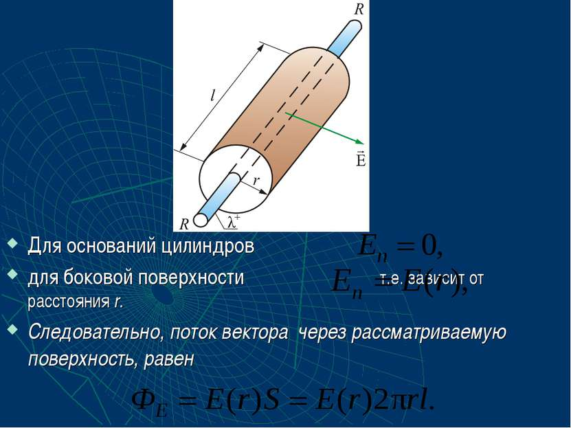 Для оснований цилиндров для боковой поверхности т.е. зависит от расстояния r....