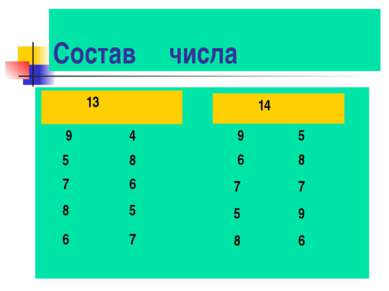 Состав числа 11 14 9 5 6 8 7 7 5 9 8 6 13 9 4 5 8 7 6 8 5 6 7