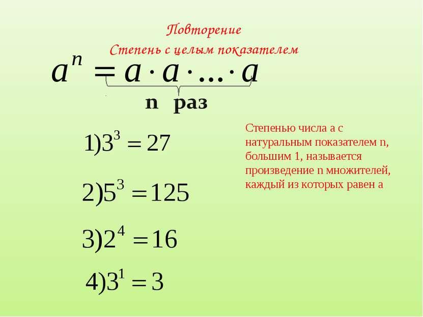 Повторение Степень с целым показателем Степенью числа а с натуральным показат...