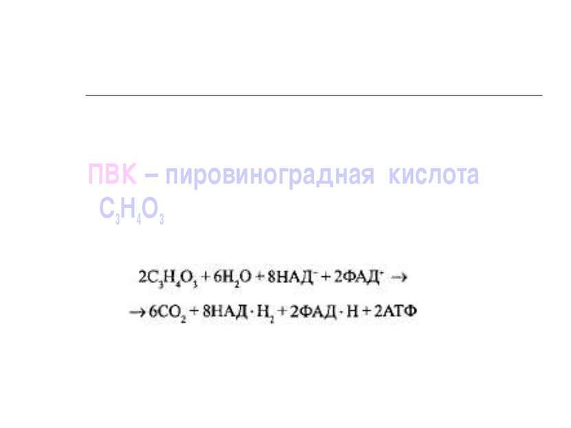 ПВК – пировиноградная кислота С3Н4О3