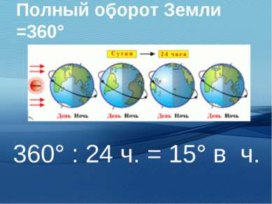 Полный оборот Земли =360° 360° : 24 ч. = 15° в ч.