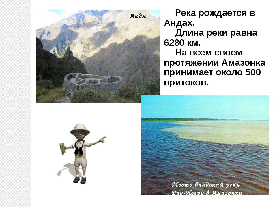 Река рождается в Андах. Длина реки равна 6280 км. На всем своем протяжении Ам...