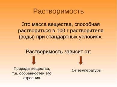 Растворимость Это масса вещества, способная раствориться в 100 г растворителя...