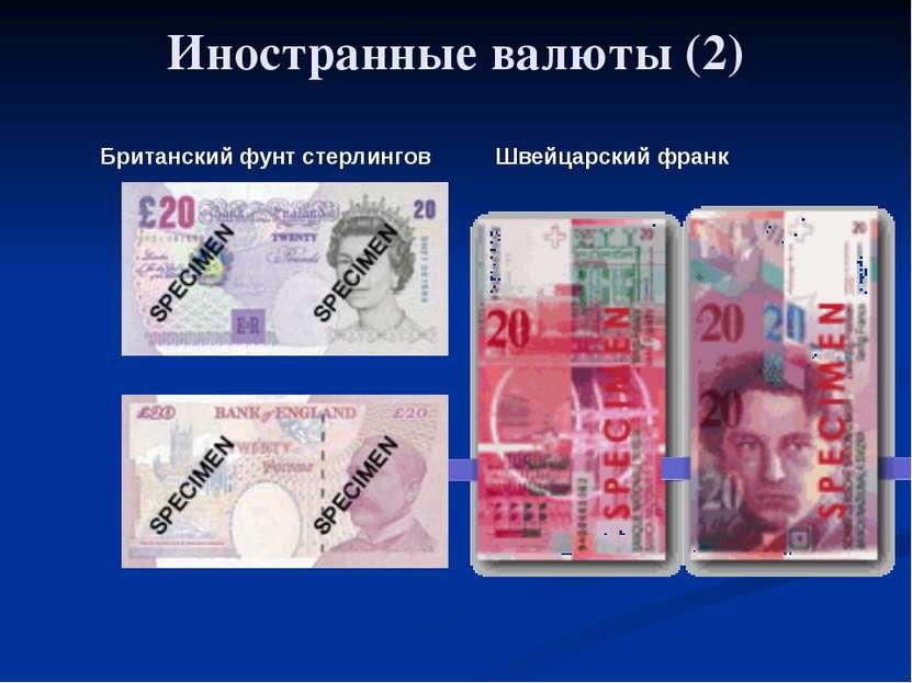 Глава 5. Экономика мира 33. Обменные курсы валют Иностранные валюты (2) Брита...