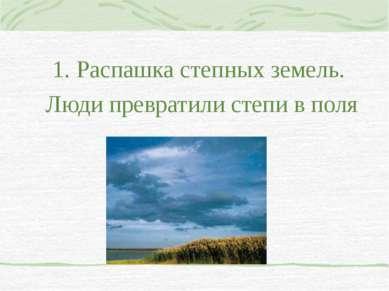 1. Распашка степных земель. Люди превратили степи в поля