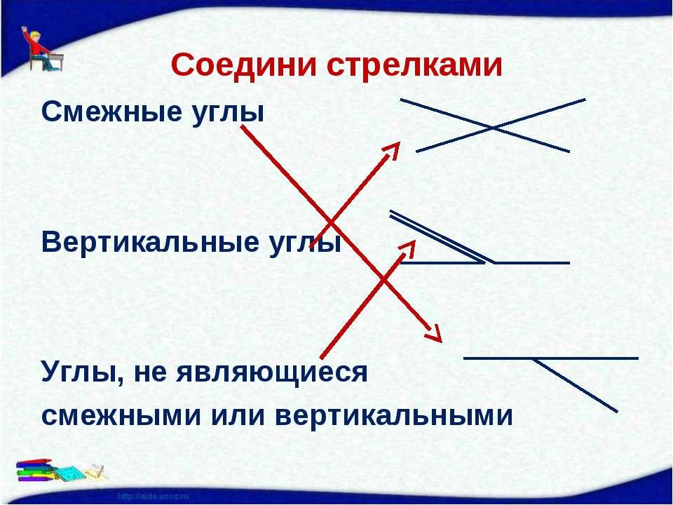 Соедини стрелками Смежные углы Вертикальные углы Углы, не являющиеся смежными...