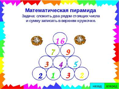 Математическая пирамида Задача: сложить два рядом стоящих числа и сумму запис...
