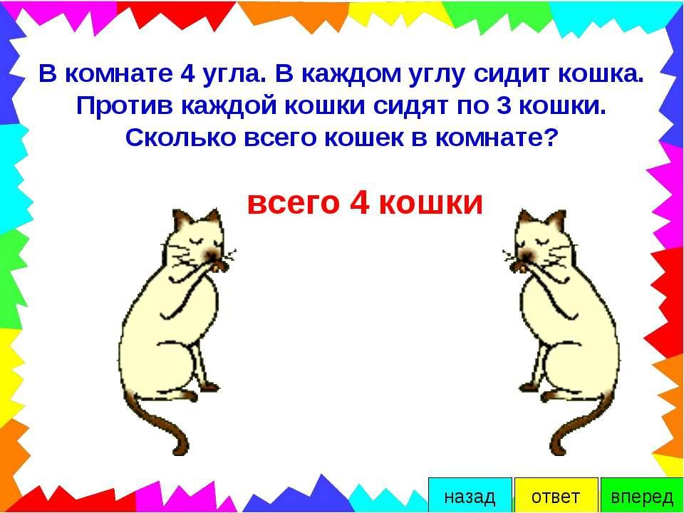 В комнате 4 угла. В каждом углу сидит кошка. Против каждой кошки сидят по 3 к...