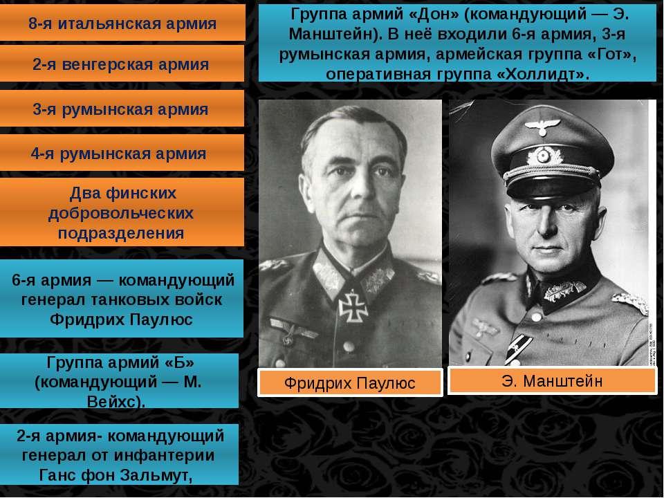 8-я итальянская армия 2-я венгерская армия 3-я румынская армия 4-я румынская ...