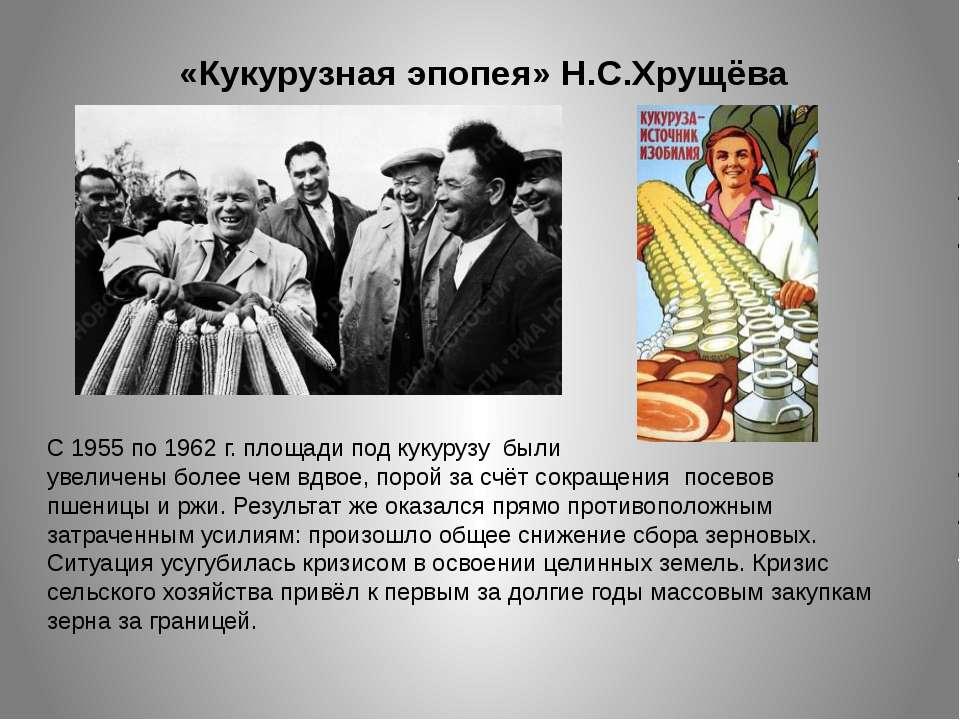 «Кукурузная эпопея» Н.С.Хрущёва С 1955 по 1962 г. площади под кукурузу были у...