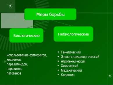 Меры борьбы Биологические Небиологические использование фитофагов, хищников, ...