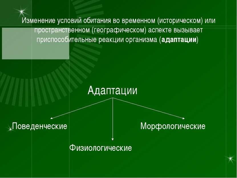 Изменение условий обитания во временном (историческом) или пространственном (...