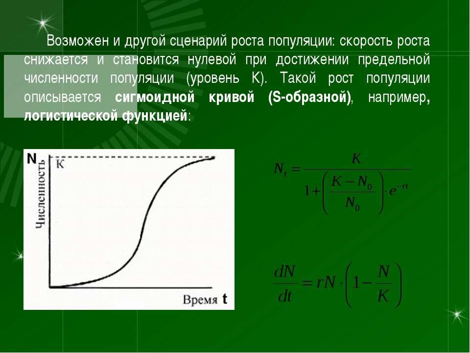 Возможен и другой сценарий роста популяции: скорость роста снижается и станов...