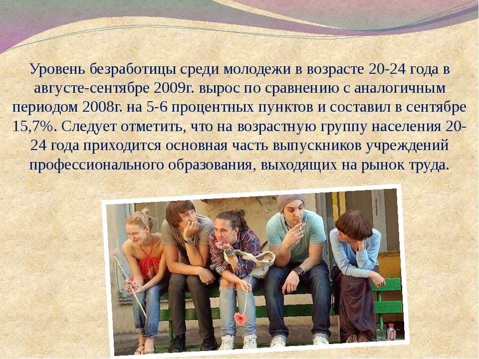 Уровень безработицы среди молодежи в возрасте 20-24 года в августе-сентябре 2...