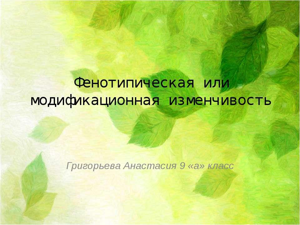 Фенотипическая или модификационная изменчивость Григорьева Анастасия 9 «а» класс