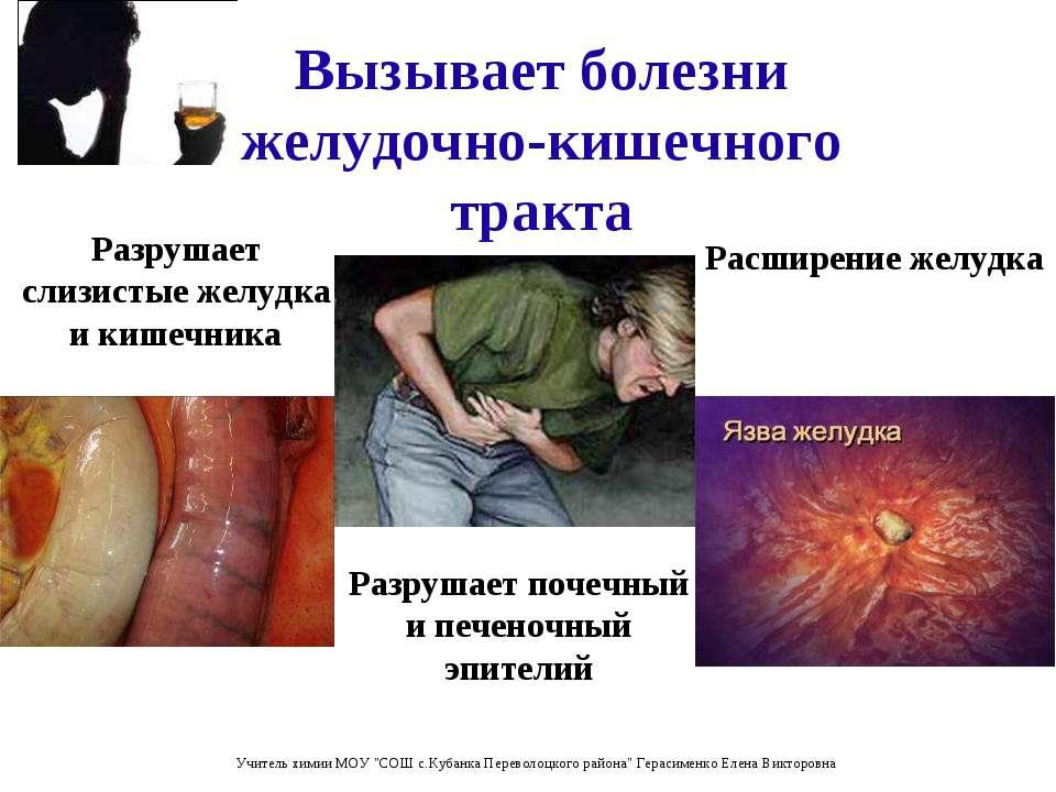 Вызывает болезни желудочно-кишечного тракта Расширение желудка Разрушает слиз...