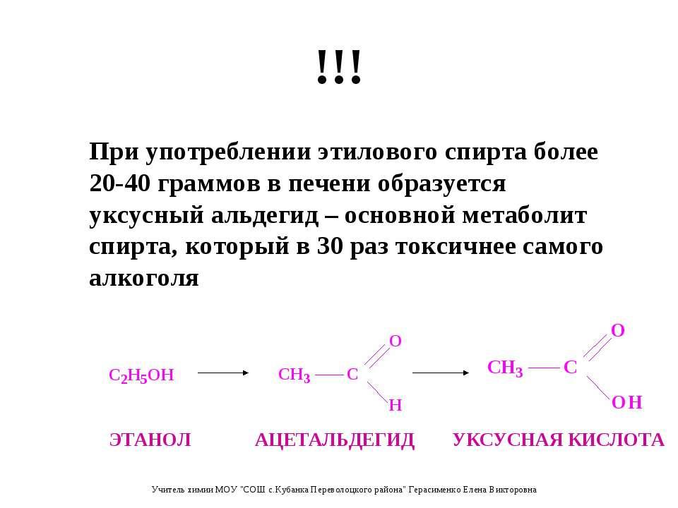 !!! При употреблении этилового спирта более 20-40 граммов в печени образуется...