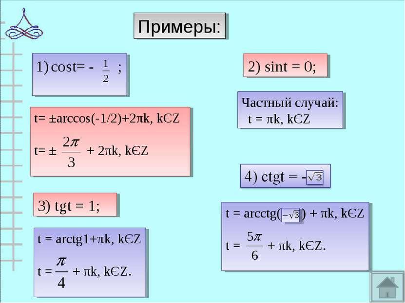Примеры: cost= - ; 2) sint = 0; 3) tgt = 1; t= ±arccos(-1/2)+2πk, kЄZ t= ± + ...