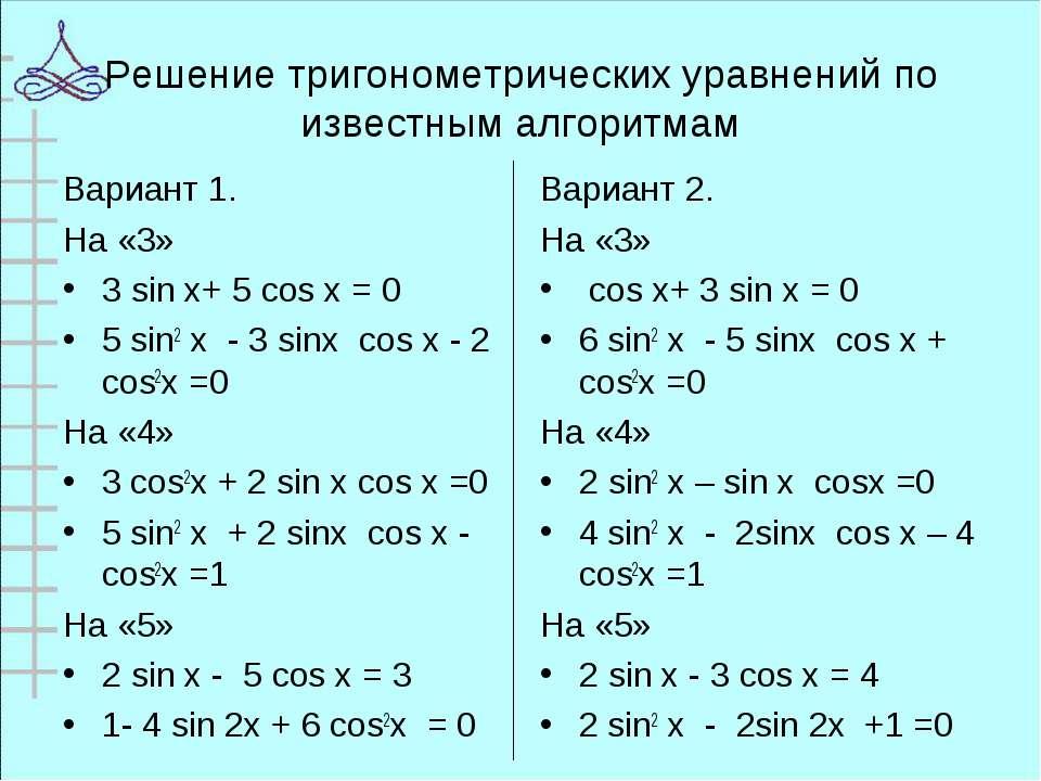 Решение тригонометрических уравнений по известным алгоритмам Вариант 1. На «3...