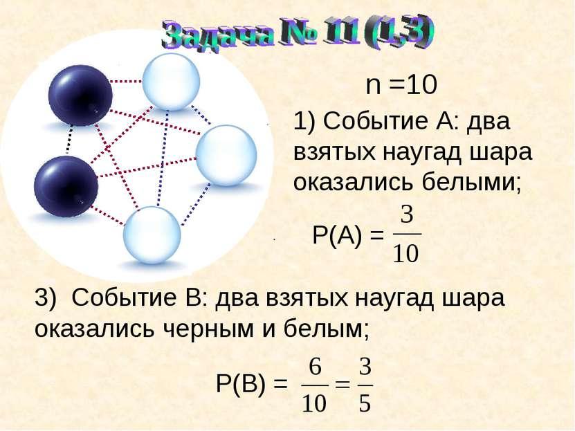 n =10 1) Событие А: два взятых наугад шара оказались белыми; Р(А) = . 3) Собы...