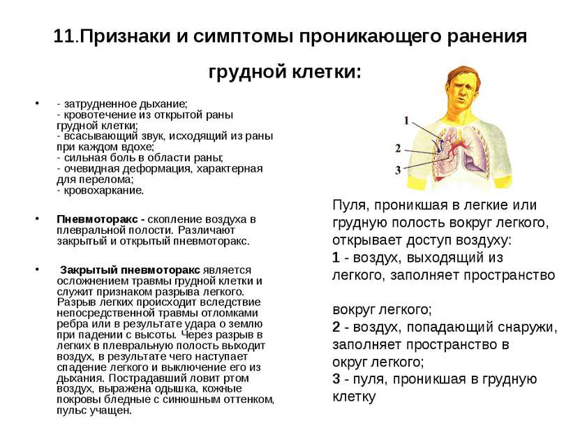 11.Признаки и симптомы проникающего ранения грудной клетки: - затрудненное ды...