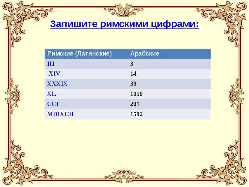 Запишите римскими цифрами: Римские (Латинские) Арабские III 3 XIV 14 XXXIX 39...
