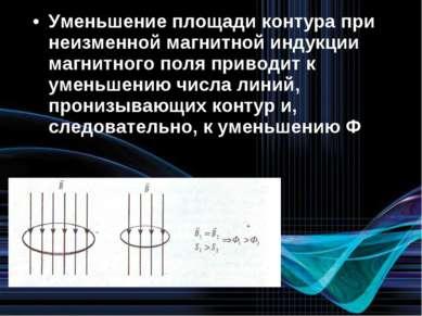 Уменьшение площади контура при неизменной магнитной индукции магнитного поля ...
