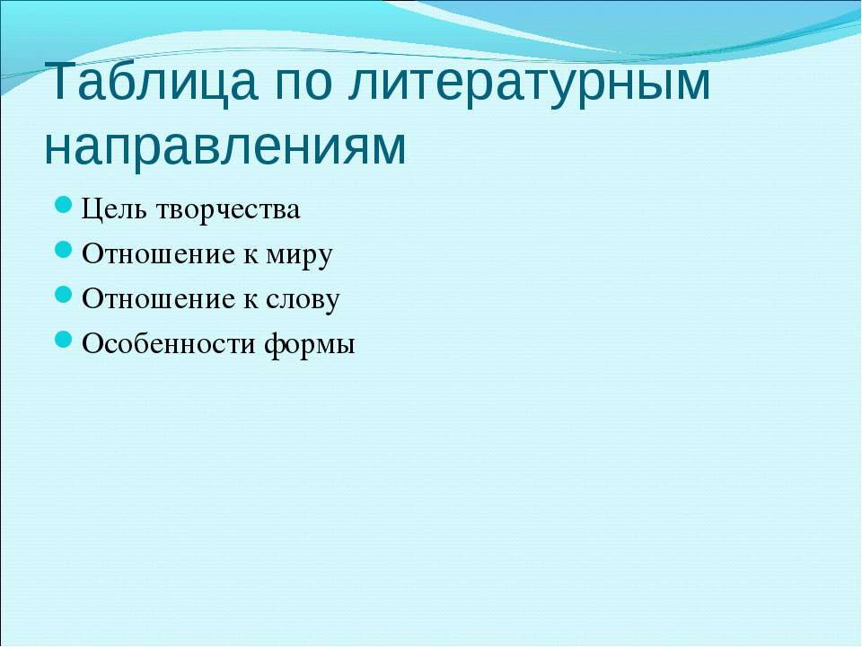 Таблица по литературным направлениям Цель творчества Отношение к миру Отношен...