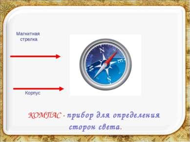 КОМПАС - прибор для определения сторон света. Корпус Магнитная стрелка