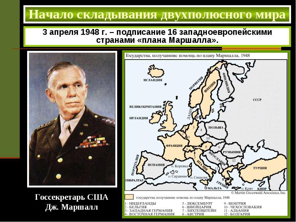 Начало складывания двухполюсного мира 3 апреля 1948 г. – подписание 16 западн...