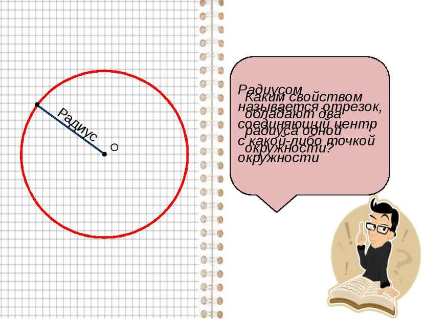 О Радиусом называется отрезок, соединяющий центр с какой-либо точкой окружнос...