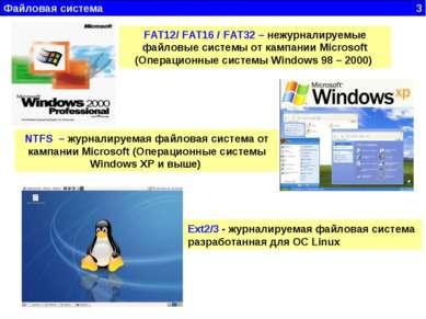 Файловая система 3 FAT12/ FAT16 / FAT32 – нежурналируемые файловые системы от...