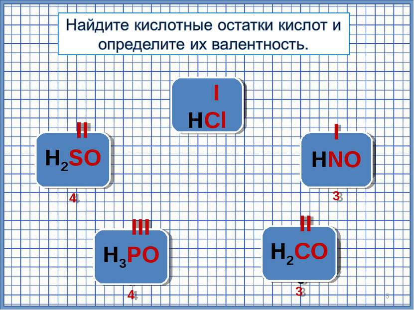 H2SO4 HNO3 H3PO4 * H2СО3 HСl I HСl I HNO3 II H2SO4 III H3PO4 II H2СО3