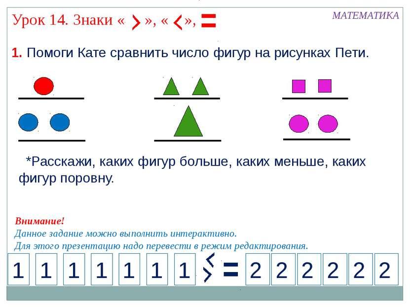 1. Помоги Кате сравнить число фигур на рисунках Пети. МАТЕМАТИКА 1 2 1 1 1 1 ...