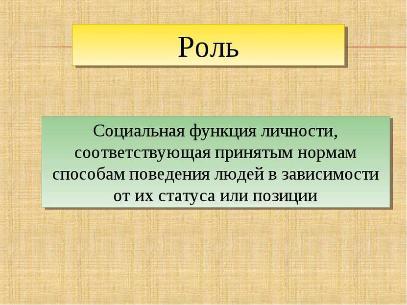 Роль Социальная функция личности, соответствующая принятым нормам способам по...