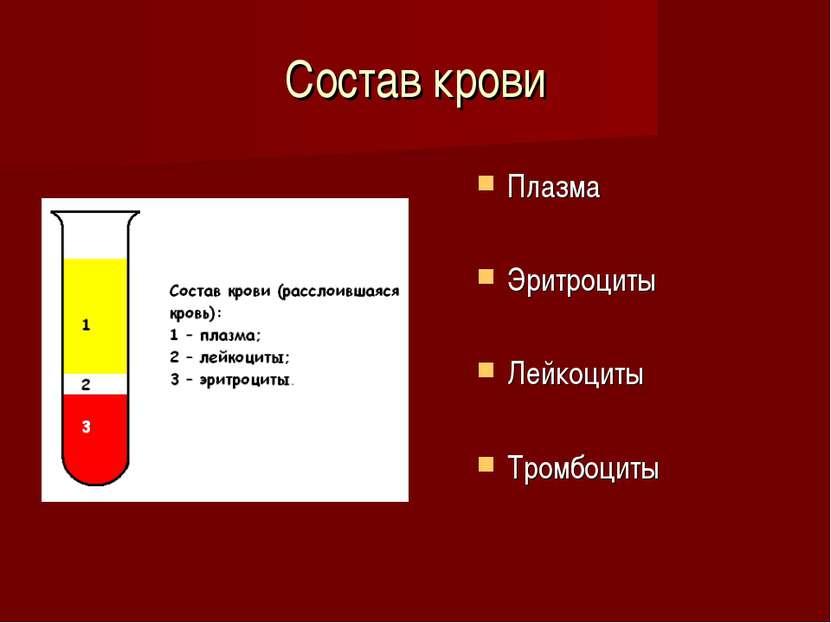 Состав крови Плазма Эритроциты Лейкоциты Тромбоциты