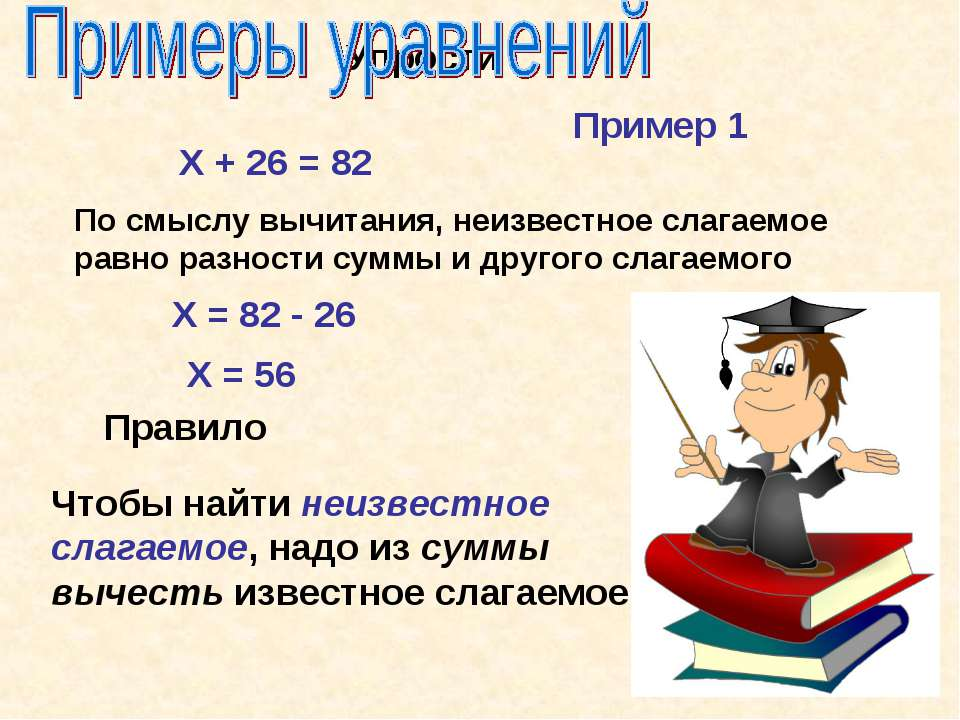 Упрости Х + 26 = 82 По смыслу вычитания, неизвестное слагаемое равно разности...
