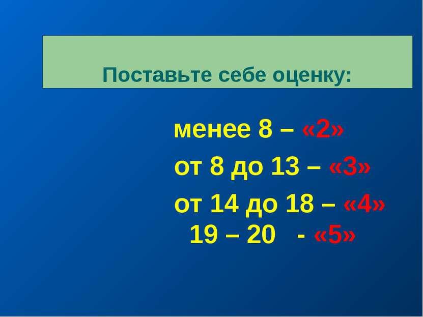 Поставьте себе оценку: менее 8 – «2» от 8 до 13 – «3» от 14 до 18 – «4» 19 – ...