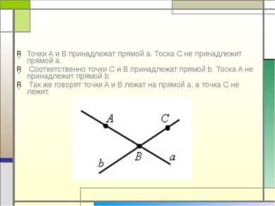 Точки A и B принадлежат прямой a. Тоска С не принадлежит прямой a. Соответств...