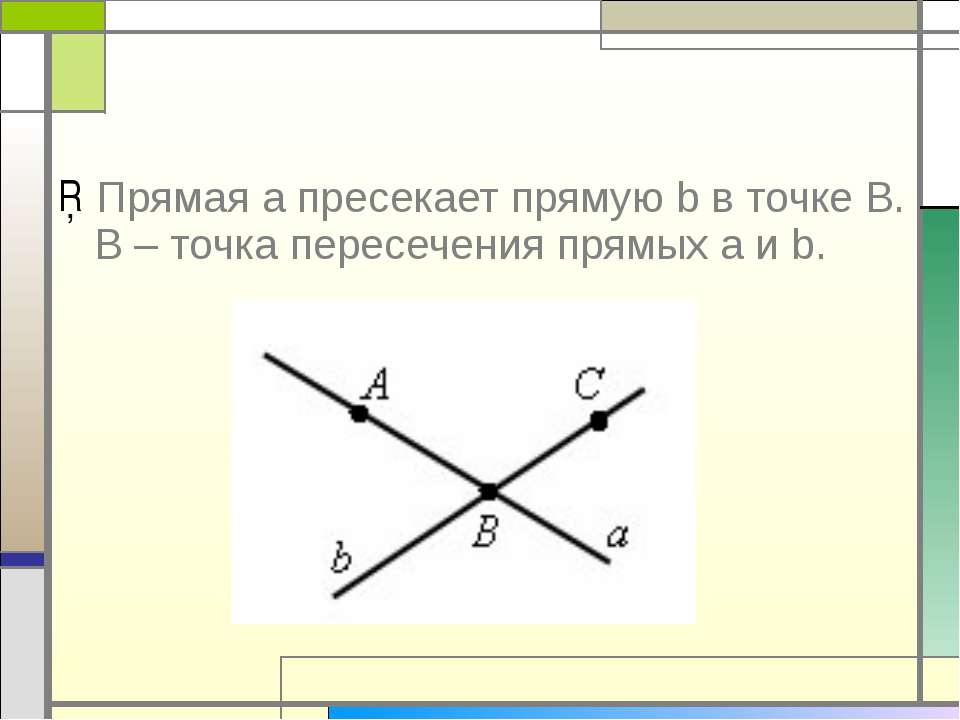 Прямая a пресекает прямую b в точке В. В – точка пересечения прямых a и b.