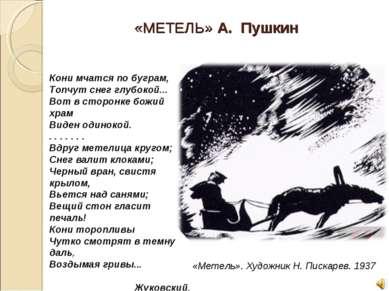 «МЕТЕЛЬ» А. Пушкин Кони мчатся по буграм, Топчут снег глубокой... Вот в ст...