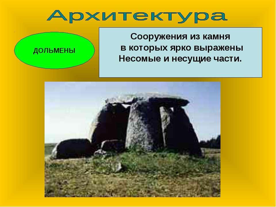 ДОЛЬМЕНЫ Сооружения из камня в которых ярко выражены Несомые и несущие части.