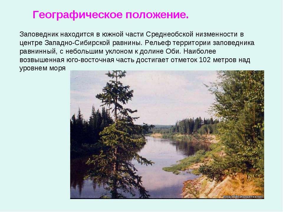 Географическое положение. Заповедник находится в южной части Среднеобской низ...