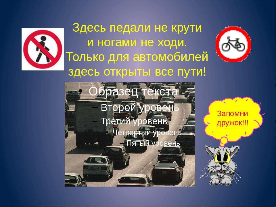 Здесь педали не крути и ногами не ходи. Только для автомобилей здесь открыты ...