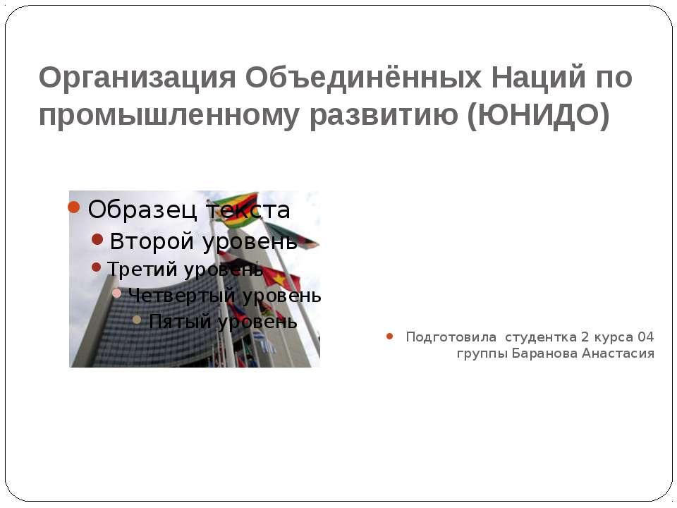 Организация Объединённых Наций по промышленному развитию (ЮНИДО) Подготовила ...