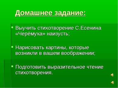 Домашнее задание: Выучить стихотворение С.Есенина «Черёмуха» наизусть; Нарисо...