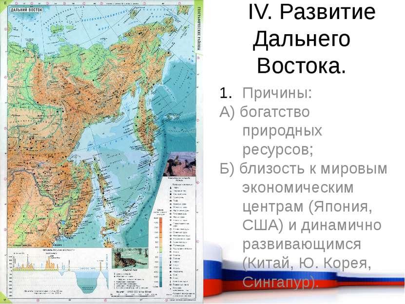 IV. Развитие Дальнего Востока. Причины: А) богатство природных ресурсов; Б) б...