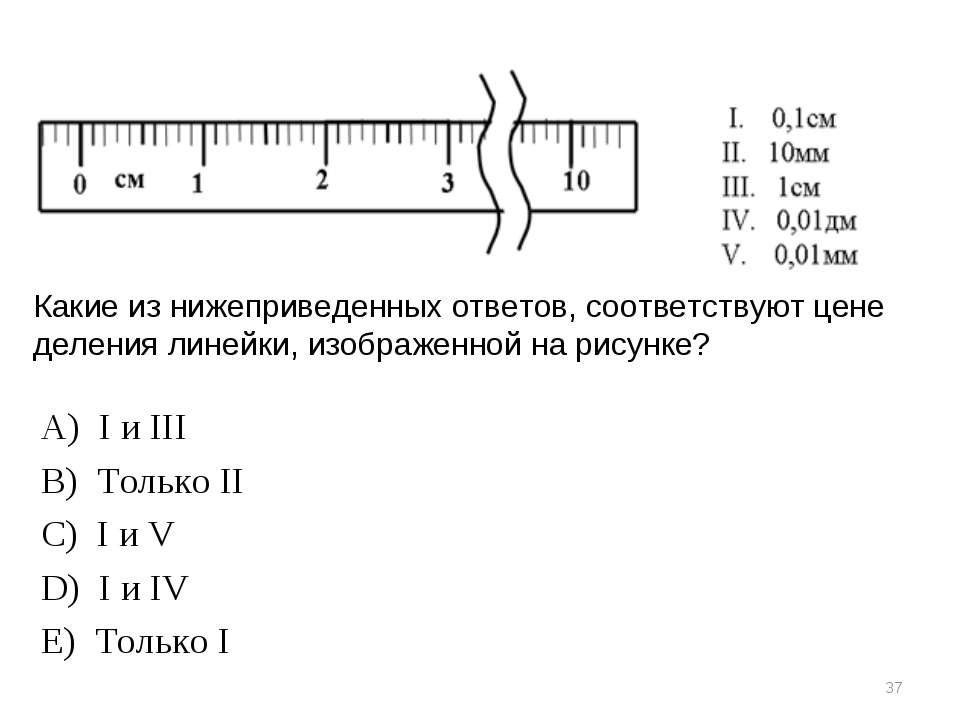 * Какие из нижеприведенных ответов, соответствуют цене деления линейки, изобр...