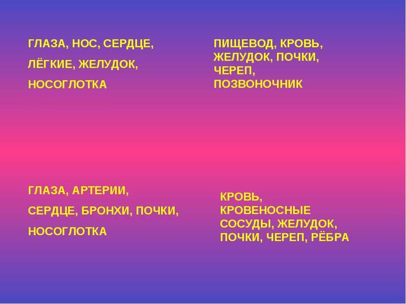 ГЛАЗА, НОС, СЕРДЦЕ, ЛЁГКИЕ, ЖЕЛУДОК, НОСОГЛОТКА ПИЩЕВОД, КРОВЬ, ЖЕЛУДОК, ПОЧК...